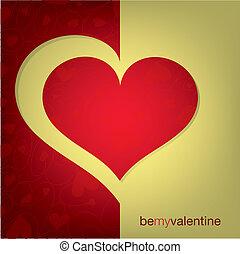 coeur, coupure, format., vecteur, carte, dehors