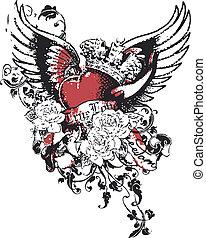coeur, couronne, péché, religion