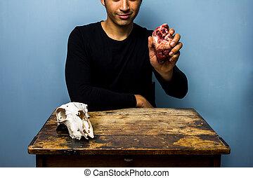 coeur, crâne, jeune, suivant, goat's, tenue, animal, homme