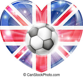 coeur, cric, union, football, drapeau