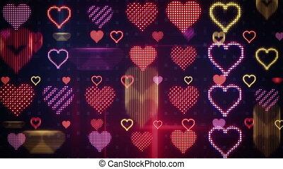 coeur, crisper, loopable, formes, incandescent, fond