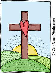 coeur, croix, illustration