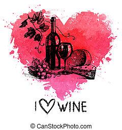 coeur, croquis, banner., vendange, illustration, main, aquarelle, éclaboussure, fond, dessiné, vin