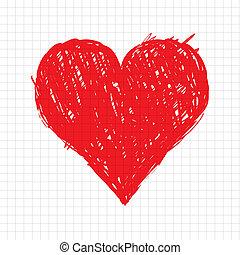 coeur, croquis, forme, conception, ton, rouges