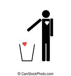 coeur, déchets ménagers, jets, homme, ton