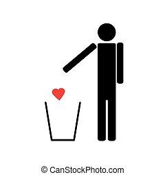 coeur, déchets ménagers, jets, rouges, homme