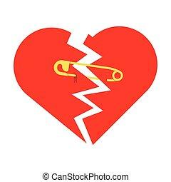 coeur, déchiré, épingle de sûreté