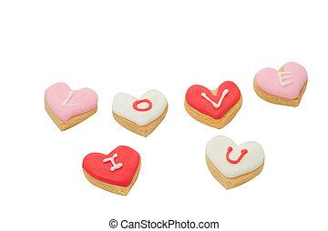 coeur, décoré, biscuits, formé