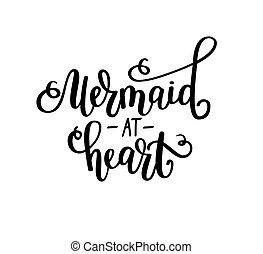 coeur, décor, t-shirt, mur, affiche, vectotr, salutation, conte, sirène, inspirationnel, maison, fée, lettering., girl, carte, design.