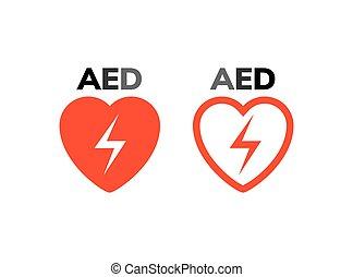 coeur, défibrillateur, aide, symbole, attaque, externe, automatisé, appareil, logo, icon., premier, signe., aed