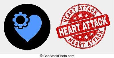 coeur, détresse, timbre, attaque, vecteur, engrenage, cachet, icône