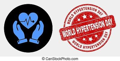 coeur, détresse, timbre, mains, vecteur, hypertension, cachet, mondiale, chirurgie, icône, soin jour