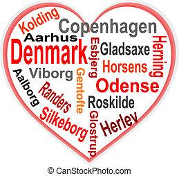 coeur, danemark, plus grand, mots, villes, nuage