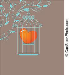 coeur, dans, cage, -, vecteur