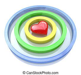 coeur, dans, les, centre, de, dards, cible, aim., saint-valentin, concept