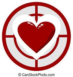 coeur, dans, les, cible