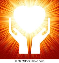 coeur, dans, ouvert, hands., eps, 8