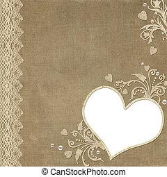 coeur, dentelle, perle, vendange, cadre, élégant