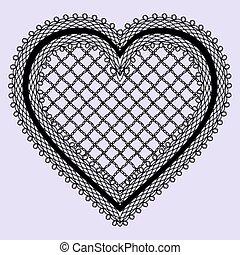 coeur, dentelle, vendange, invitations, élément, féminin, ...
