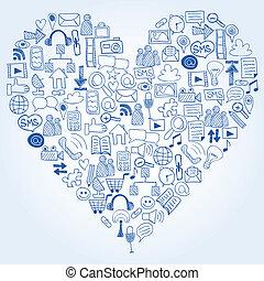 coeur, dessiné, icônes, média, -, main, forme, social, doodles
