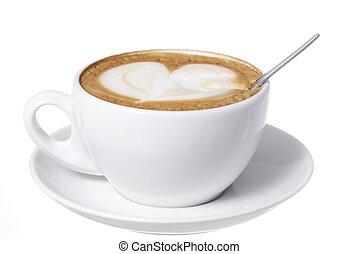 coeur, dessiné, spoon., latte