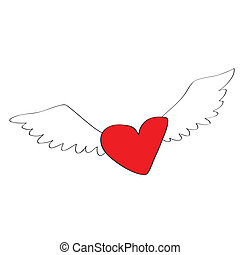 coeur, dessin animé, ange