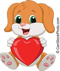 coeur, dessin animé, chien, rouges, tenue