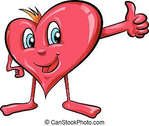 coeur, dessin animé, haut, pouces