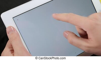coeur, dessine, doigt, tablette, homme