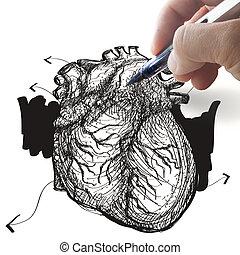 coeur, dessine, main