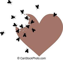 coeur, dessiner, abandonnés