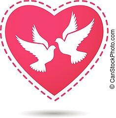 coeur, deux, arrière-plan rouge, blanc, colombes