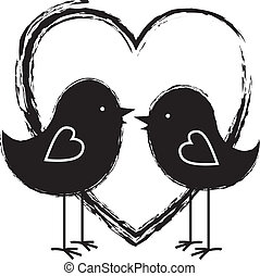 coeur, deux oiseaux