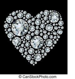 coeur, diamant, brillant