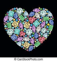 coeur, différent, fait, gemstones.