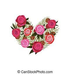coeur, différent, formulaire, illustration, arrière-plan., vecteur, roses., blanc, composition