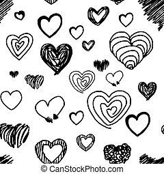 coeur, divers, modèle, -, seamless, illustration, isolé, lignes, vecteur, conception, fond, dessiné, blanc, main, noir