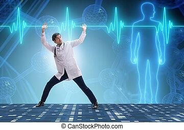 coeur, docteur, cardiogramme, soutenir, cardiologue, ligne