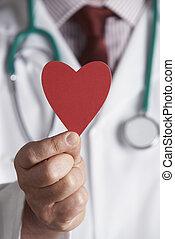 coeur, docteur, haut, tenir fermeture, carton