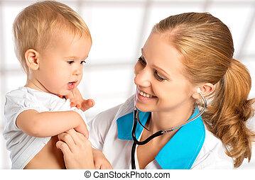 coeur, docteur, pediatrician., stéthoscope, bébé, écoute