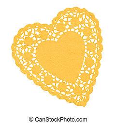 coeur, doilie, jaune