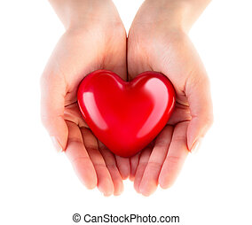 coeur, donation, -, amour, mains