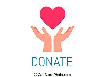 coeur, donner, affiche, charité, donation, tenant mains, rouges