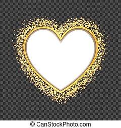 coeur, doré, cadre, particles., vecteur, blanc, transparent, scintillement
