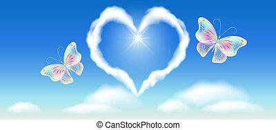 coeur, doré, ornement, ciel, fantasme, papillons, nuage