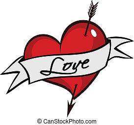 coeur, dos, tatuagem, dia, coracao, tatouage, flexa, amor, ...