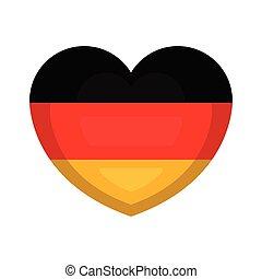 coeur, drapeau, allemagne, forme