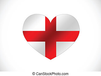 Coeur Angleterre Forme Drapeau Logo Amour
