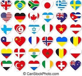 coeur, drapeau, autocollants