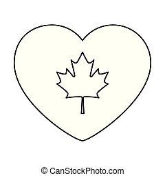 coeur, drapeau, emblème, canadien
